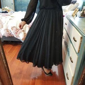 👣Vintage Black Chiffon  Full skirt